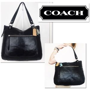 Coach Poppy Glam Black Leather Carryall Tote Bag